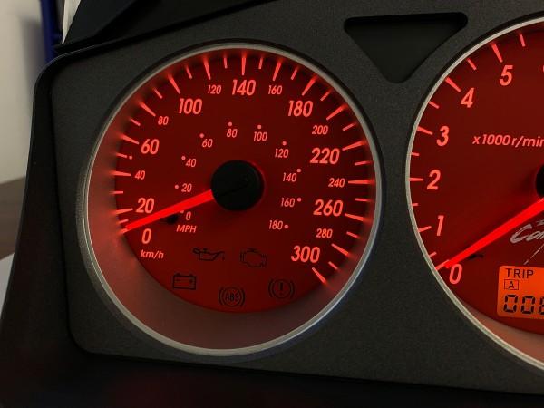 Mitsubishi Lancer EVO 7 8 9 300 km/h red Ralliart S3 design dials + LED upgrade kit