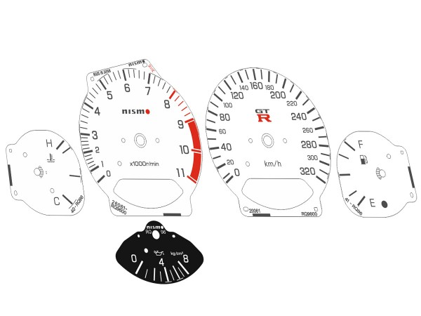 Nissan Skyline GT-R R34 NISMO design white dials